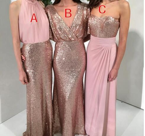 18296a49131d A-Line Country Boho Sequined Bridesmaid Dresses Rose Gold with Pink Mermaid  Custom Made Wedding Party Formal Gowns Maid of Honor