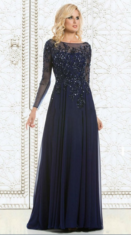 New Arrival Formal Dresses Evening Long Navy Blue Lace Crystals