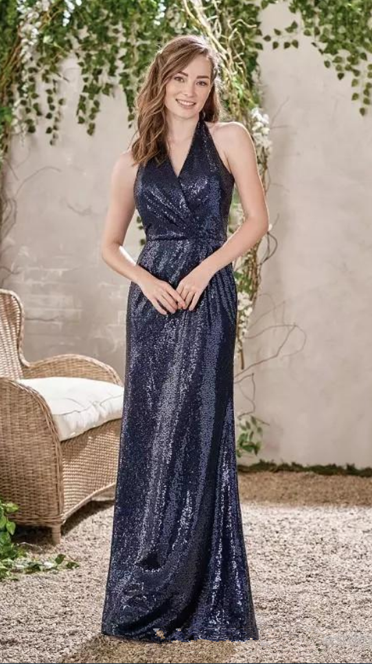 1c82f9f572d9 New Bridesmaid Dresses Navy Blue Sequined Wedding Guest Dress Halter Backless  Floor Length Custom Made Evening