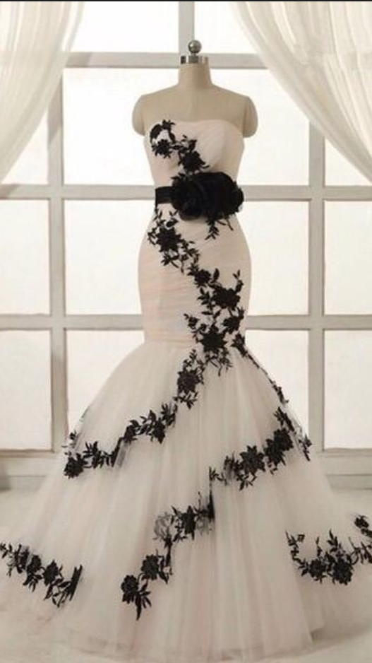 72e196f8d803 Wedding Dress, Dreaming White And black Mermaid Wedding Dresses with black belt  lace appliques sweetheart backless bridal gown custom made