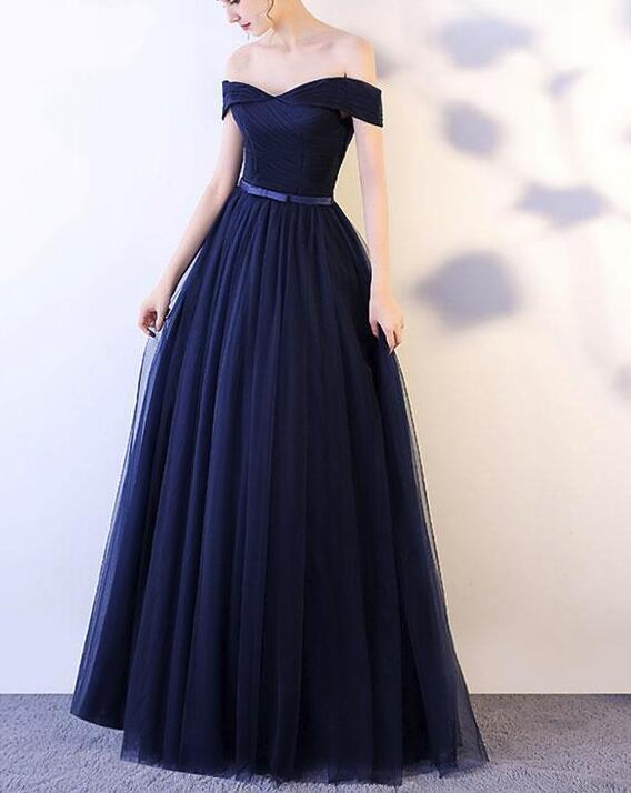 4fd1f67f8c7 Beautiful Navy Blue Long Party Dress