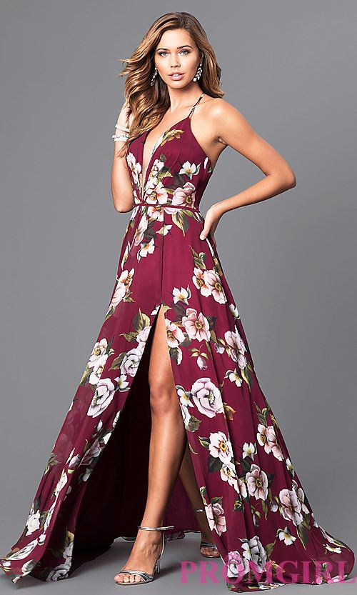 Floral V-Neck Long Corset Prom Dress on Luulla