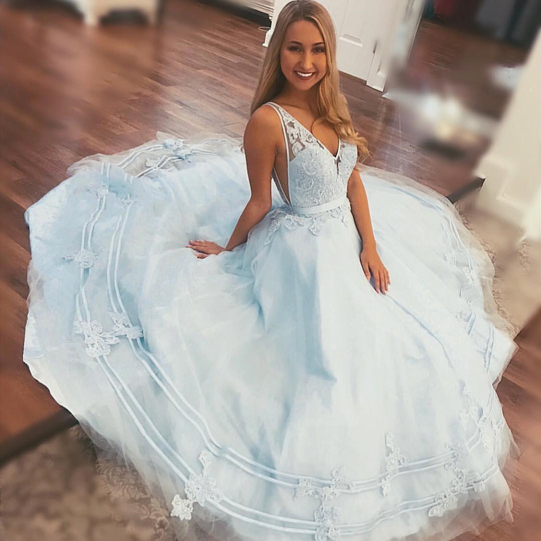 Princess Prom Dresses,A-line Prom Gown,Light Blue Prom Dresses,Long ...