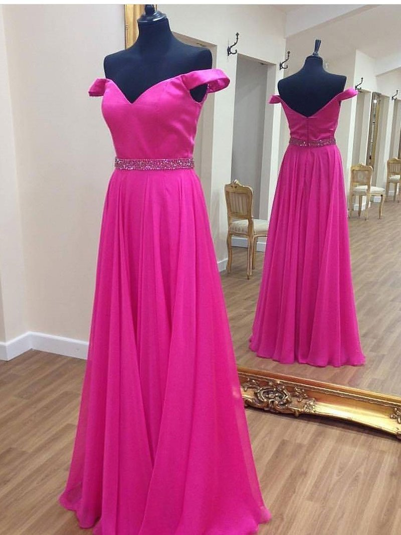 A-line Off-Shoulder Floor-Length Chiffon Rhine Stone Prom Dresses