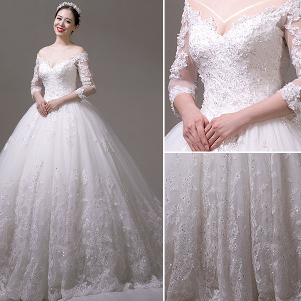 5aee83a12c702f Stunning A-line Off The Shoulder Applique Lace Heart-shape Back Wedding  Dress