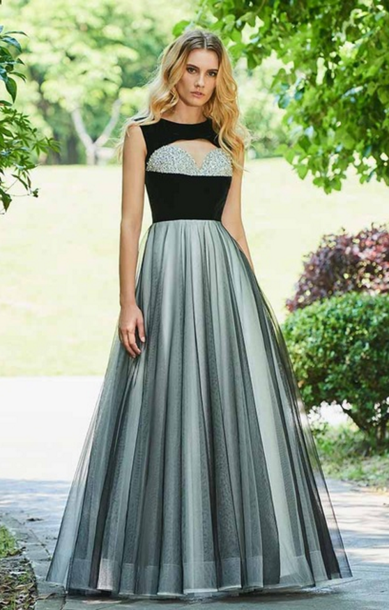 Dress v black evening dress scoop neck a line elegant sleeveless  floor-length beading wedding party formal dress evening dresses cd7df949deb1