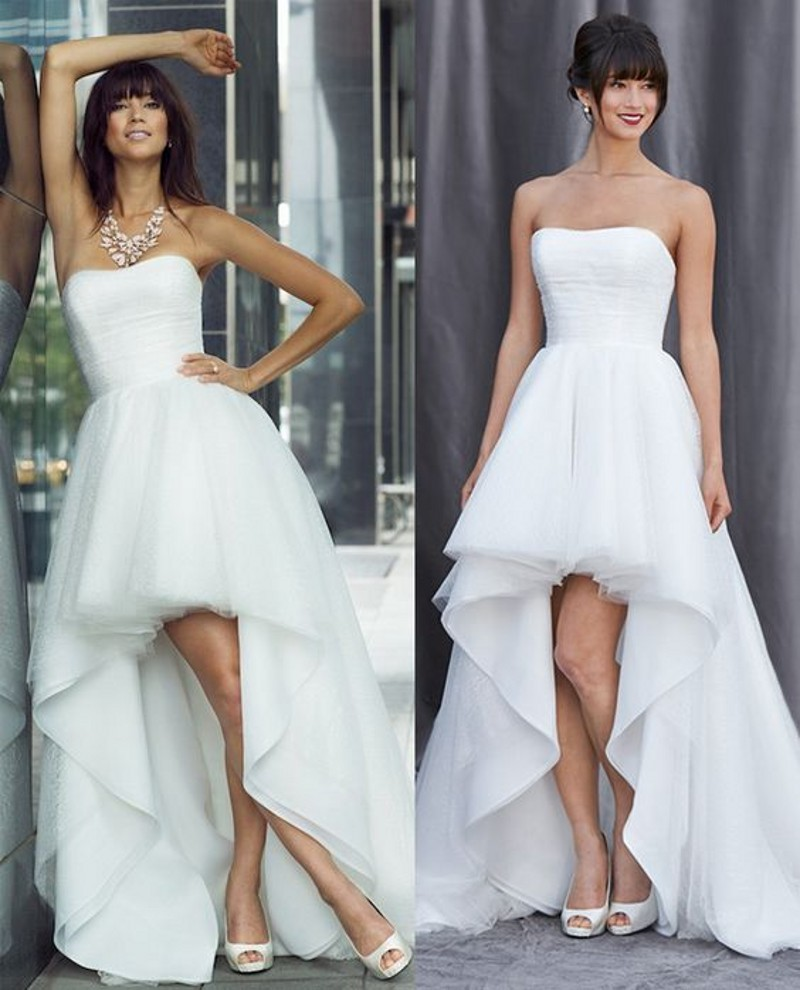 Sexy hi-low Wedding Dress,Strapless Beach Bridal Dress