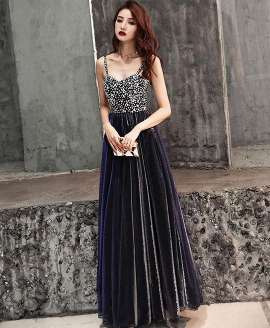 ff526a67803 DARK BLUE SWEETHEART NECK TULLE LONG PROM DRESS