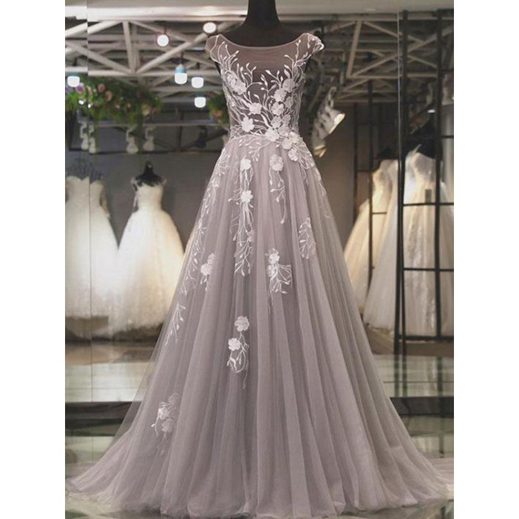 Cheap Prom Dresses, Silver Prom Dresses, Prom Dresses A-Line, Long Prom Dresses
