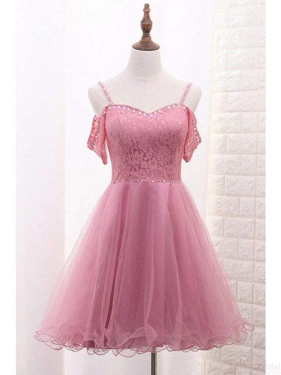 Spaghetti Straps Short Tulle Homecoming Dresses with Lace Top
