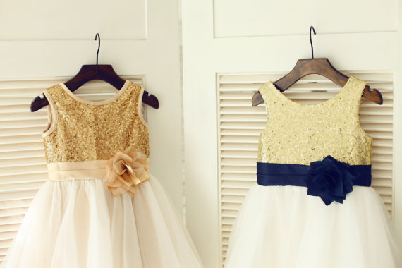 Gold sequin ivorytulle flower girl dress navy blue flower belt gold sequin ivorytulle flower girl dress navy blue flower belt children toddler party dress for wedding junior bridesmaid dress mightylinksfo