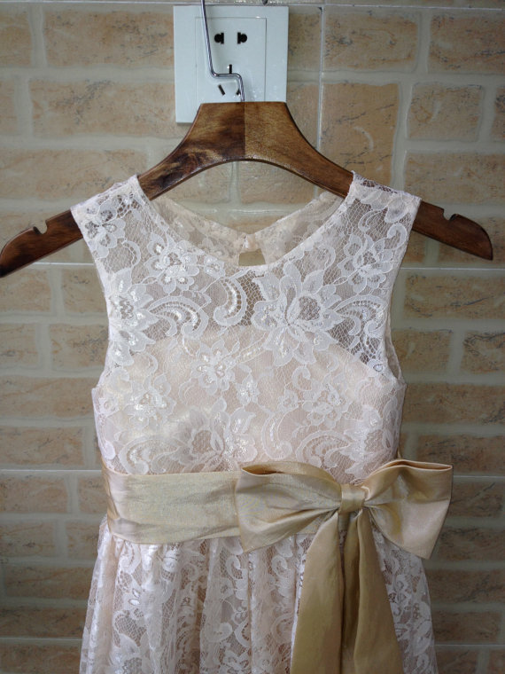 champagne lace flower girl dress wedding flower girl dress wedding girl dress lace flower girl dresses with sash/bo