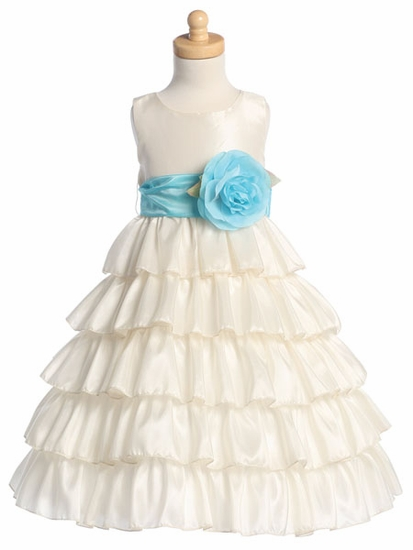 Ivory Lace Tulle Flower Girl Dress With Navy Sash and Bow