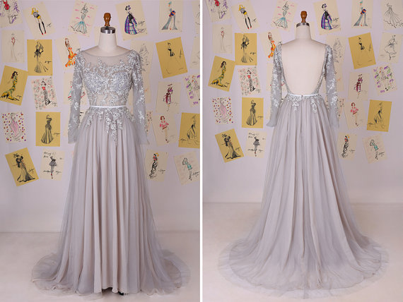 e58261fbc13 Silver Grey Long Sleeves Beading Lace Appliques Long Prom Dress Luxury  Tulle Prom Dress Modest Evening Dress Lace Prom Dress DAF0005