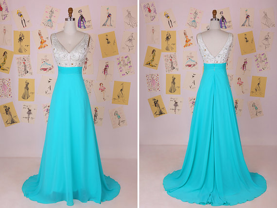 eff3343214da Blue and White V Neck Beading Long Chiffon Prom Dress Tiffany Blue Prom  Dress