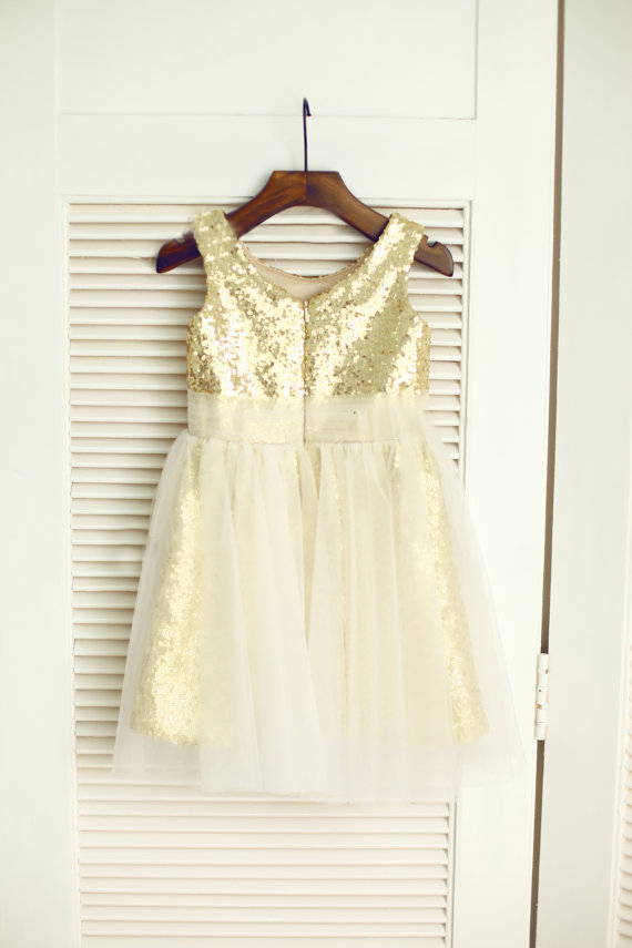 Navy Bluegoldpinkblue Sequin Ivory Tulle Flower Girl Dress