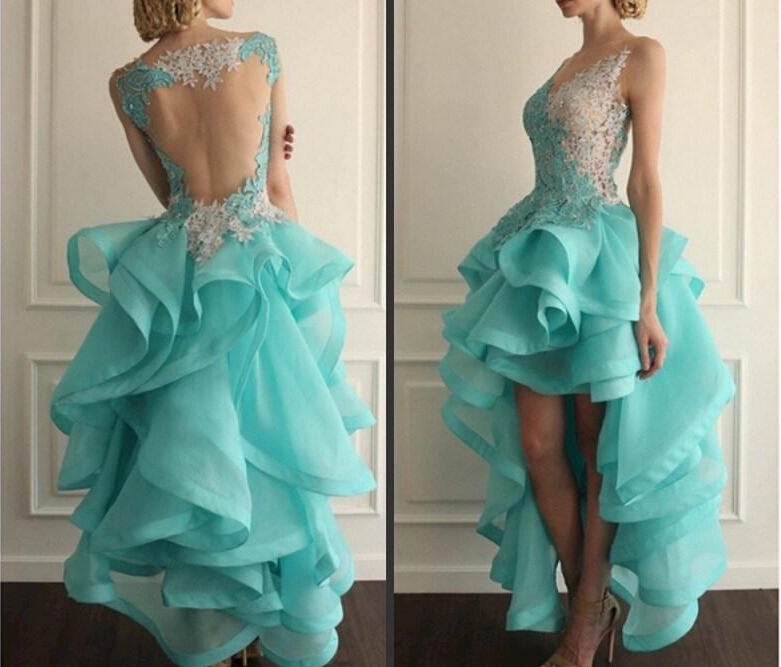 Hot 2015 Vestido High Low Backless Prom Dresses Lace Applique Organza Tiered V neck Special Occasion Party Gowns 2015 Homecoming Dress