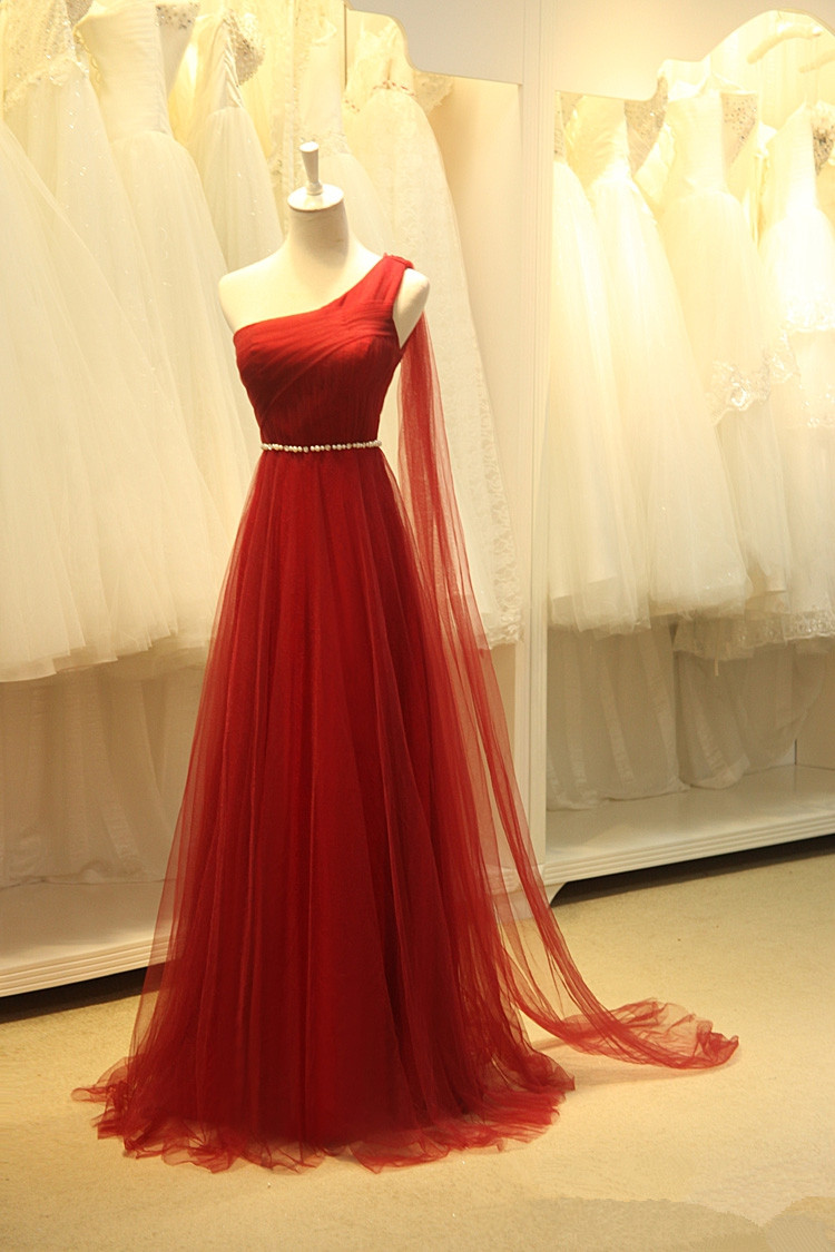 Beautiful Gauze Shoulder Long Simple Ball Gown 2015 Wine Red, Wine ...