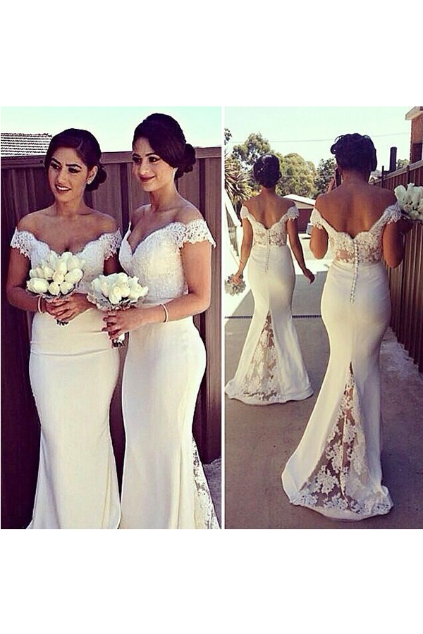 a374a8ee018 Short Sleeves White Lace Mermaid Bridesmaid Dresses