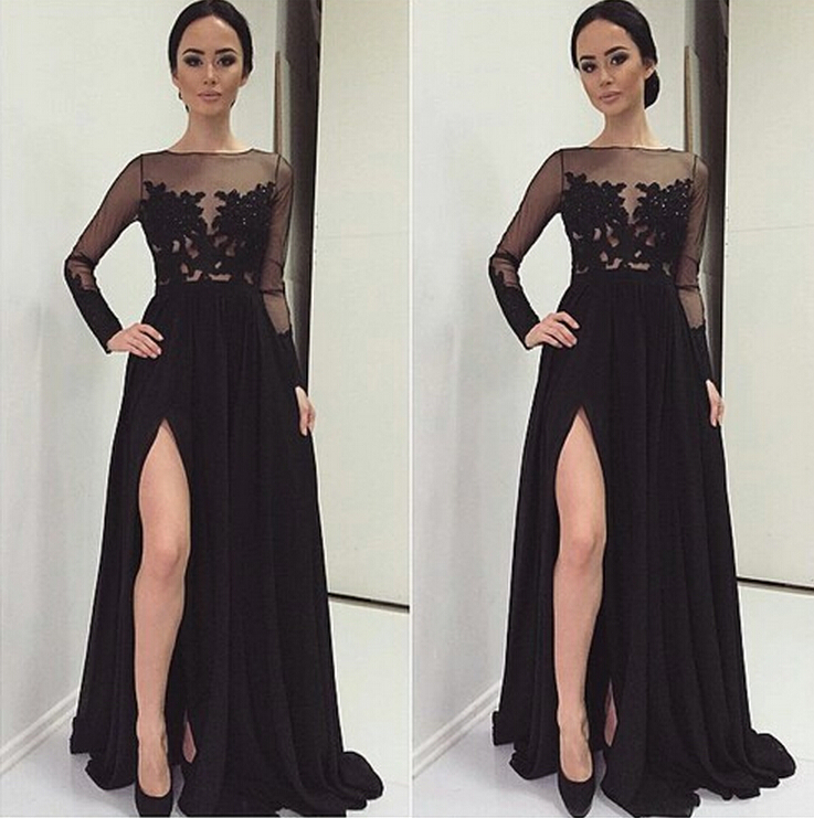 Black Lace Evening Gowns Dresses