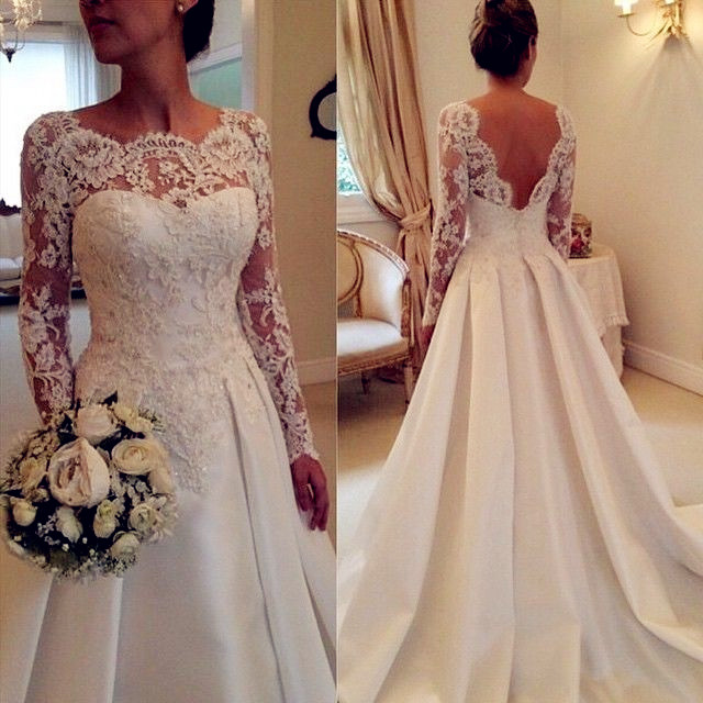 7197bf81bd Scoop Neck A-Line Satin Wedding Dresses Lace Appliques Bridal Gowns