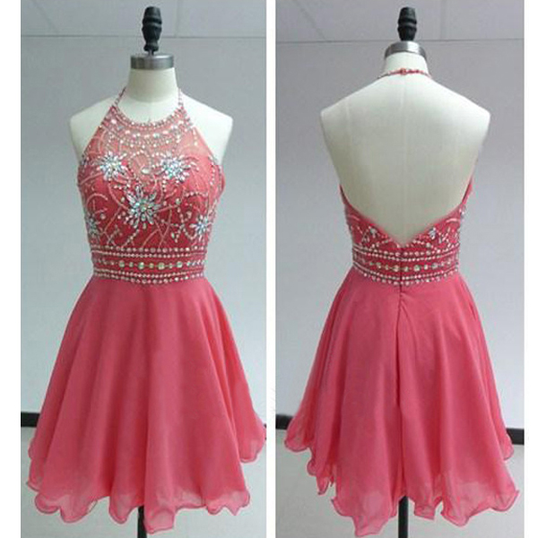 Halter Neck Short Chiffon Homecoming Dresses Crystals Beaded Party Dresses
