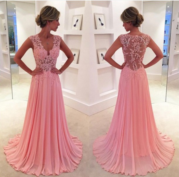 Prom Dress,Charming Prom Dress,Sexy Lace Prom Dress ,See Through Long Prom Dress,V Neck Prom Dress,Appliques Evening Dress,Chiffon Prom Dress,Dress For Prom,Formal Dress 2016