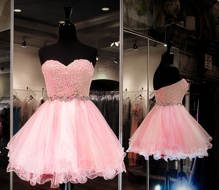 Custom Made Sweetheart Strapless Mini Homecoming Dress, Short Prom Dress, Beading Homecoming Dresses