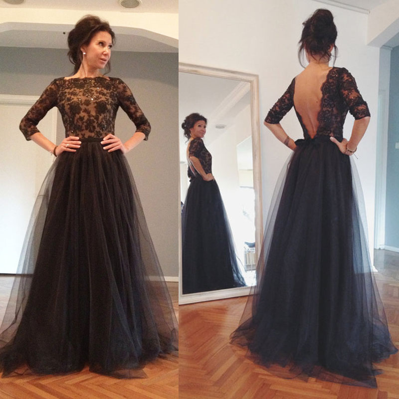 A Line Tulle Evening Dressbeaded Long Sleeve Formal Party Dress New