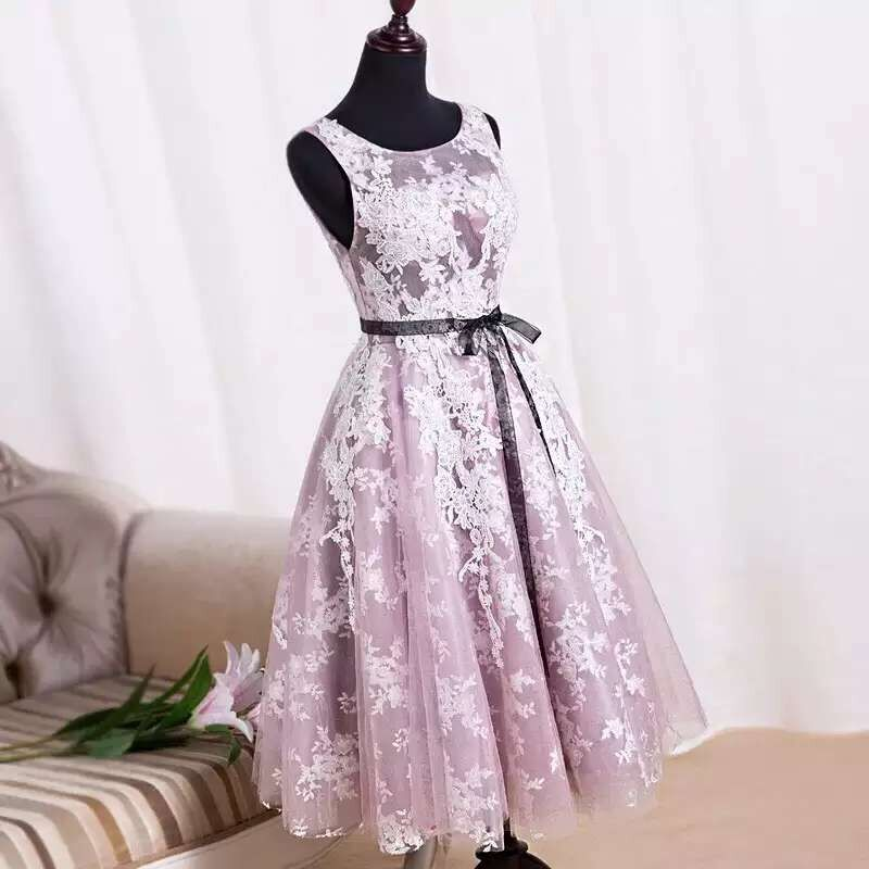 b701e66f529a Charming Handmade Tea Length Tulle Pink Prom Dresses With Lace Applique, Prom  Dresses, Homecoming Dresses