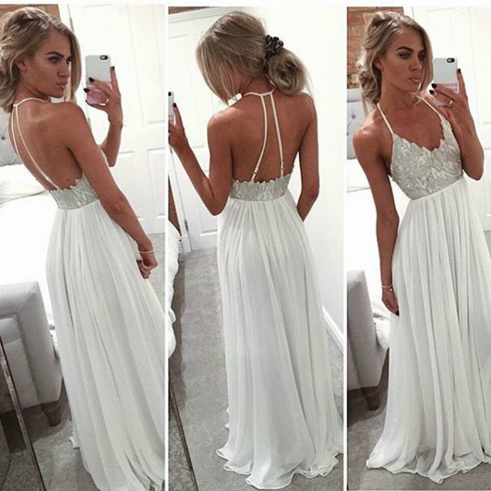 Cheap Simple Long Ivory Chiffon Lace Boho Bohemian Prom Dress Gowns ...