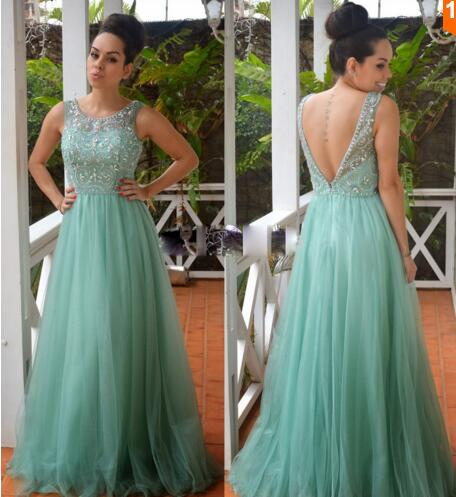 2016 New Arrive O Neckline A Line Turquoise Tulle Prom Dresses With Crystal Rhinestone Backless Long Party Dress