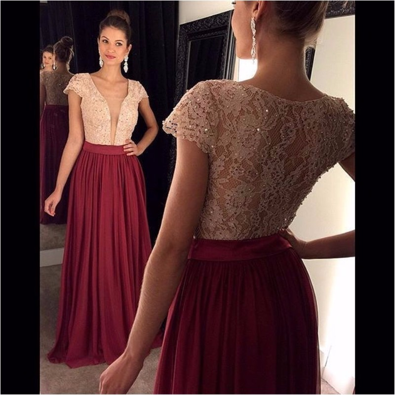 830c80a2707 2016 Wine Red Prom Dress Chiffon Long Lace Bodice Sexy Deep V Neck Short  Sleeve Cheap Prom Gown