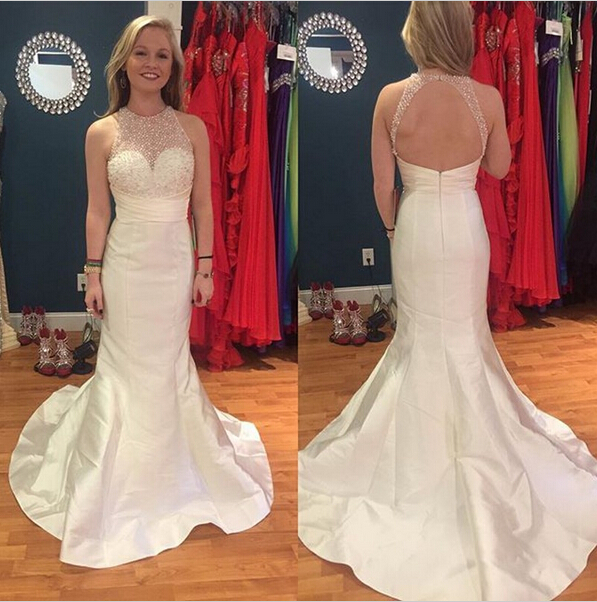 White Mermaid Long Prom Dresses,Cap Sleeves Beadig Prom Gowns,Charming Evening Dresses