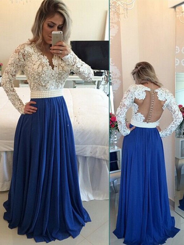 Modest Handmade Long Chiffon Royal Blue Beading Prom Dresses 51df02ba0