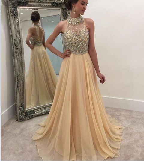3faea44717b3 Charming Formal Women Dress,Beading Champagne Prom Dress,Long Prom Dresses,Cheap  Prom Dresses,Evening Dress Prom Gowns, Chiffon Prom Dress