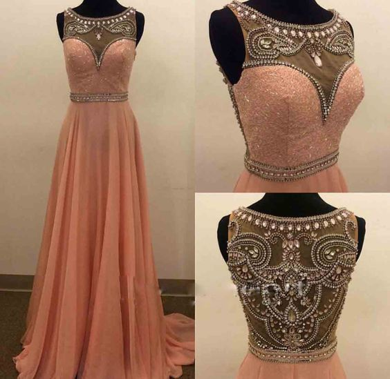 Charming Peach Prom Dress, Beading Prom Gowns, A Line Prom Dress ...