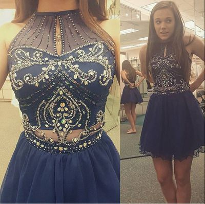 Homecoming Dresshigh Neck Halter Navy Tulle Skirt Two Piece Prom
