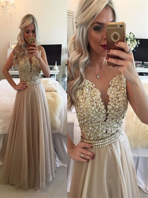7775b93389 A Line Round Neck Sleeveless Long Champagne Prom Dress