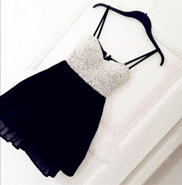 Real Made Sweetheart Black Homecoming Dresses ,Little Black Dresses, Spaghetti straps Graduation Dresses,Homecoming Dress,Short/Mini Homecoming Dress, Party Dresses