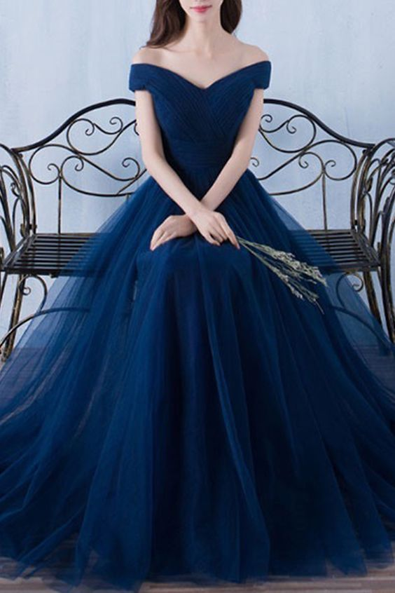 9feaaf2c3e5 Dark Blue Tulle Organza Off-shoulder A-line Long Prom Dresses