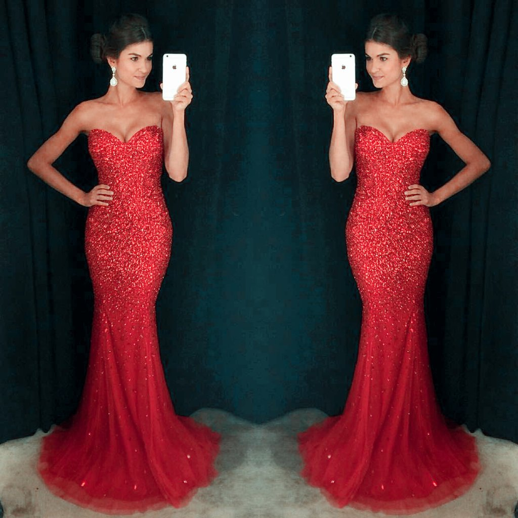 Mermaid Red Prom Dresses
