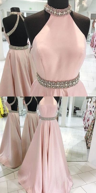 79e0ec8eb8 Prom Dresses Of Party Dresses Pink Backless Beaded Prom Dress