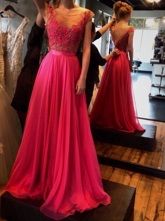e8e227ae47d Sexy Prom Dresses, A-Line Prom Dresses, Charming Backless Evening Dresses  Prom Dress, Evening Dress Scoop Appliques Chiffon V-back, Floor-Length Prom  ...