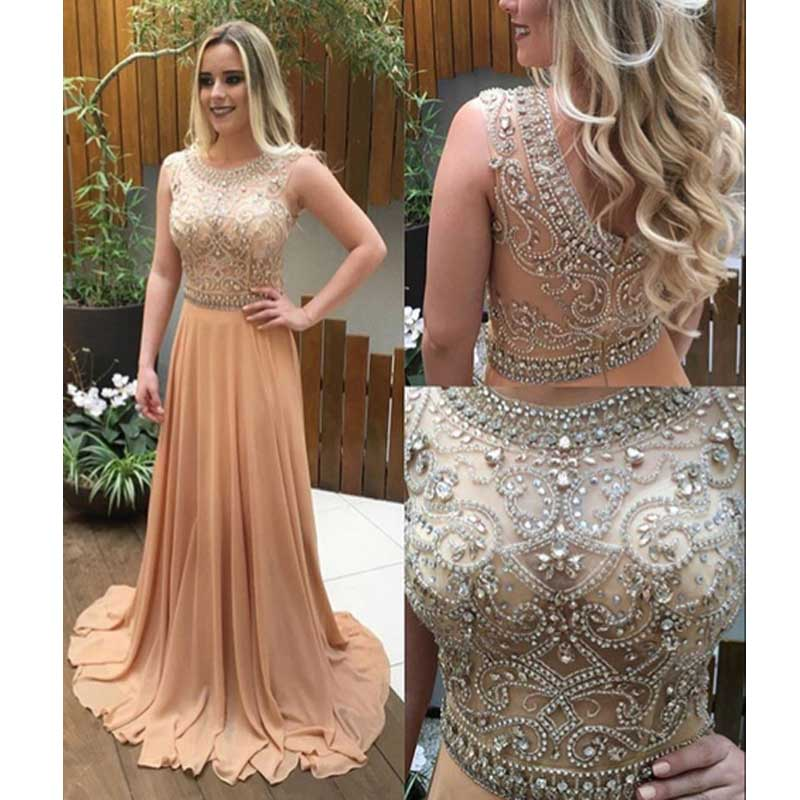 See Through Beaded Prom Dress, Long Champagne Prom Dresses, Custom ...