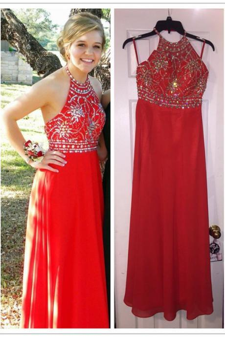 High Neck Prom Dresses,Red Halter Prom Dress,Evening Dresses