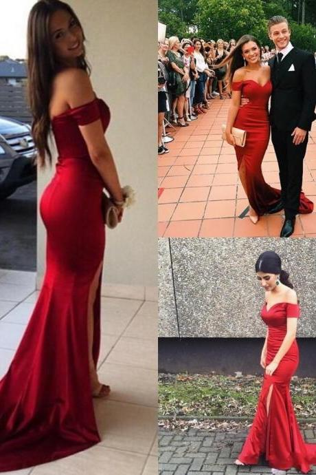 Red Prom Dress, Mermaid Prom Dress, Sexy Prom Dress, Side Slit Prom Dress, Off Shoulder Prom Dress , Long Prom Dress, Special Occasion Gowns, Prom Dress, Party Dress,