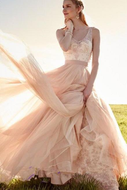 Blush Pink V-neck Beads Prom Dress,Long Evening Party Prom Dress,Long Formal Dress