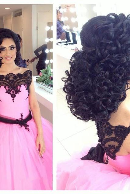 Gothic Black Lace Appliques Pink Ball Gowns Wedding Dress 2017