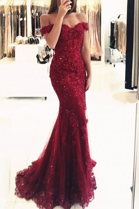 Rhinestone Evening Dress, Burgundy Evening Dress, Elegant Evening Dress, Short Sleeve Evening Dress,